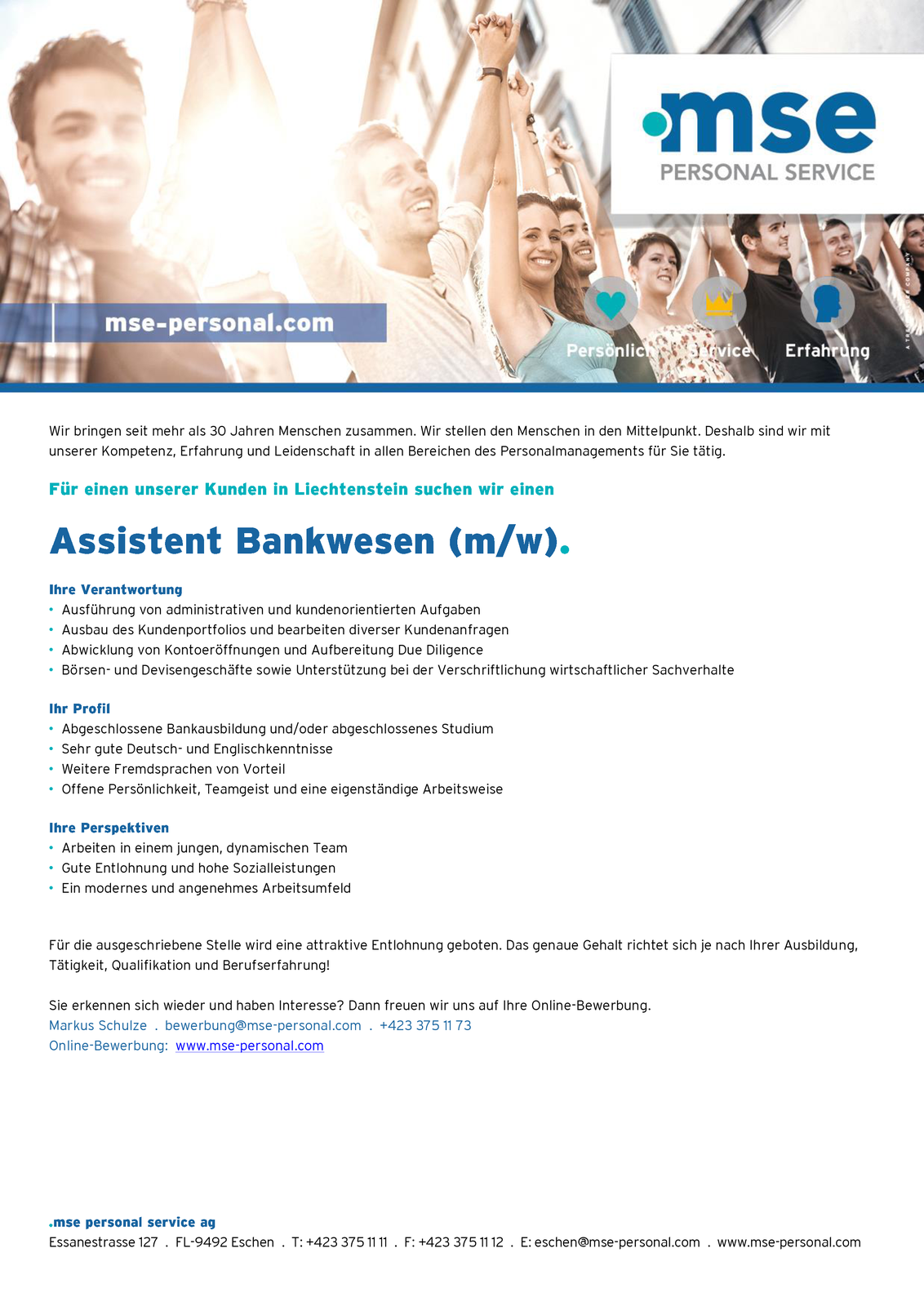 Assistent Bankwesen (m/w)