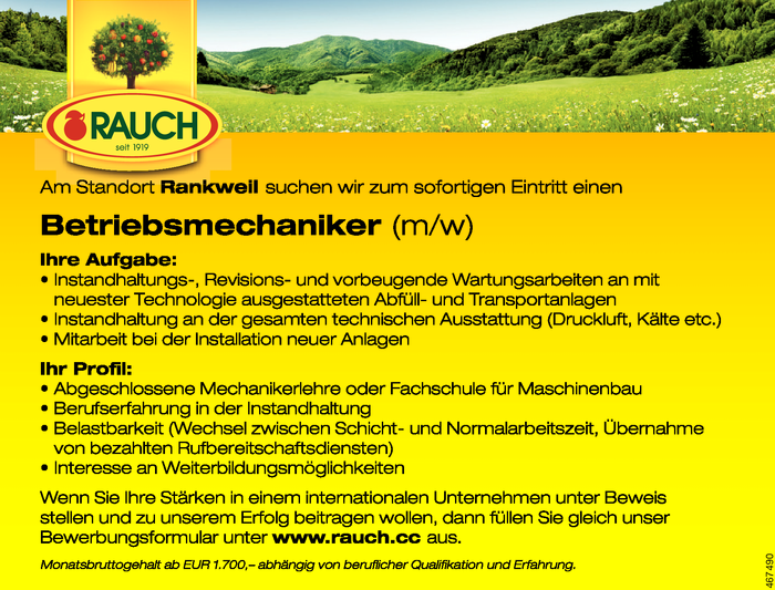 Betriebsmechaniker/in