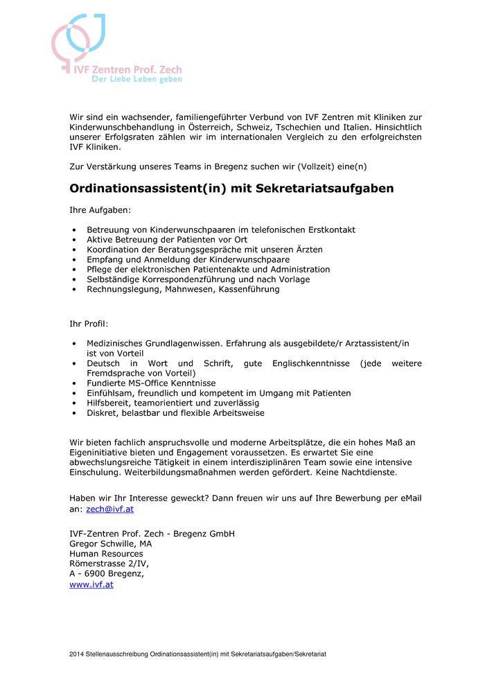 Ordinationsassistent(in) mit Sekretariatsaufgaben