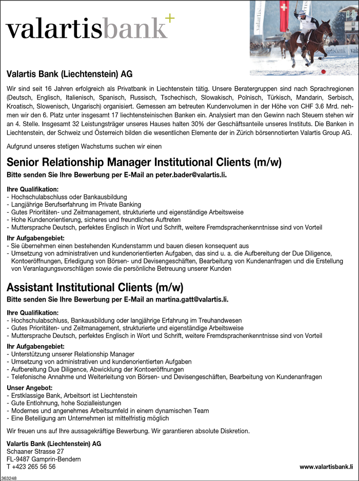 Senior Relationship Manager/in, Assistant Institutional Clients