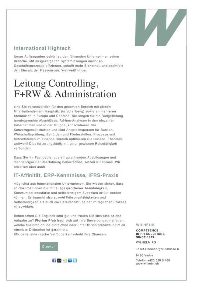 Leitung Controlling, F+RW & Administration