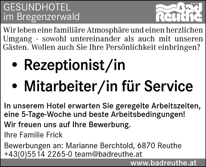 Rezeptionist/in, Service