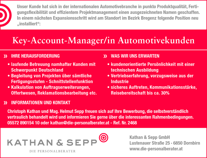 Key-Account-Manager/in Automotivekunden