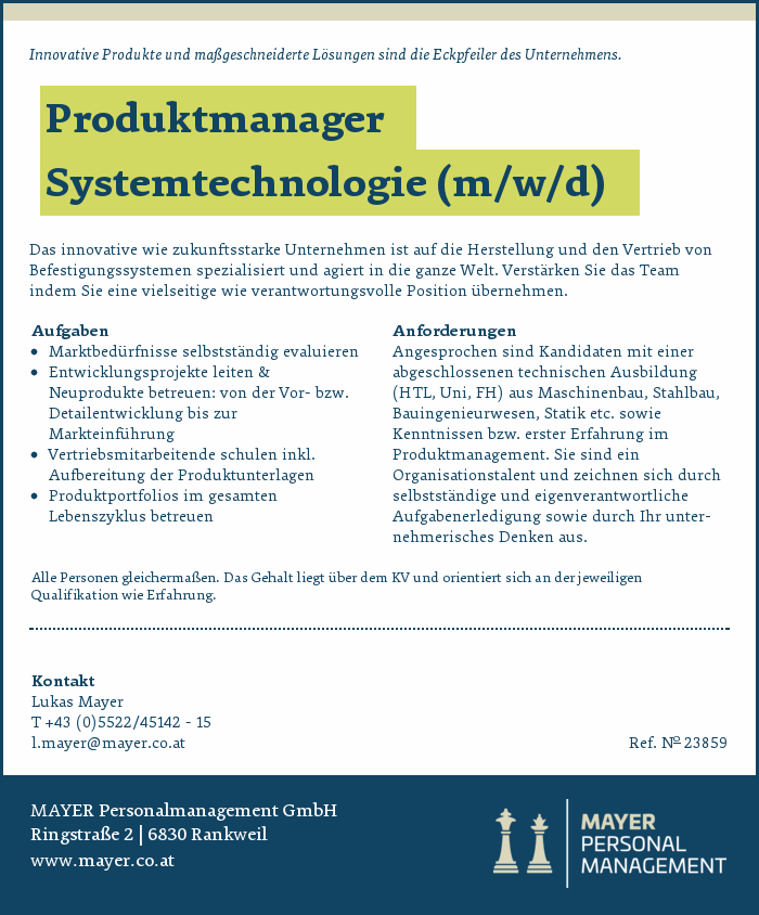 Produktmanager Systemtechnologie (m/w/d)