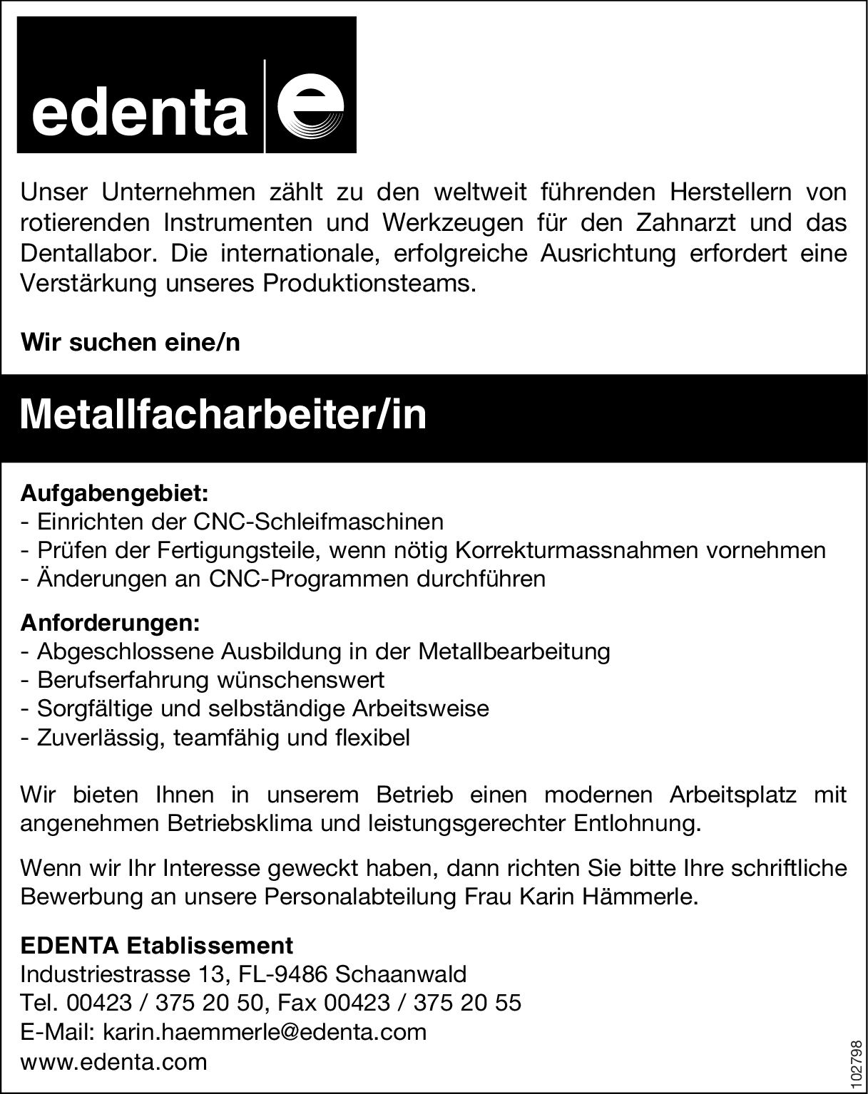 Metallfacharbeiter/in