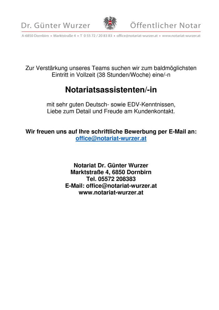 Notariatsassistent/-in