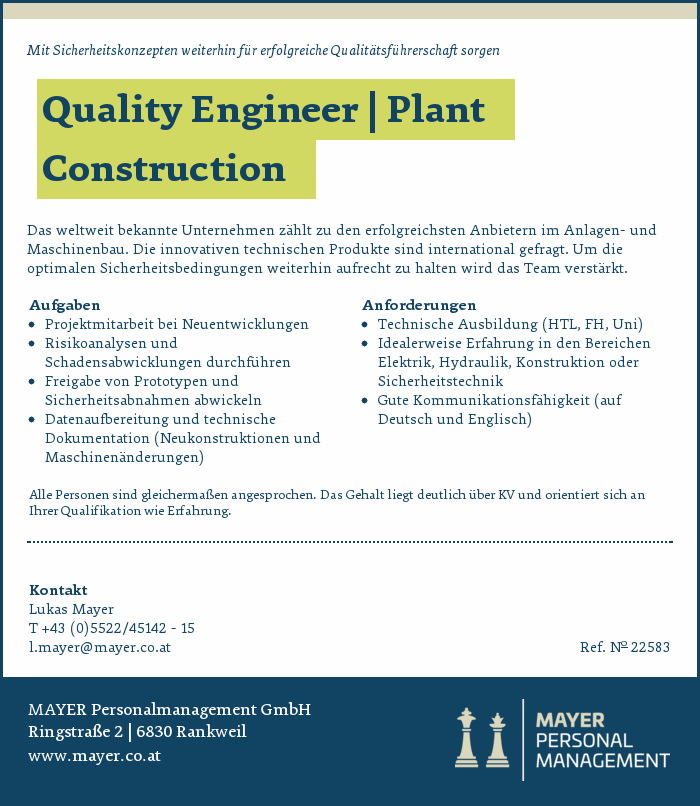 Quality Engineer | Plant Construction