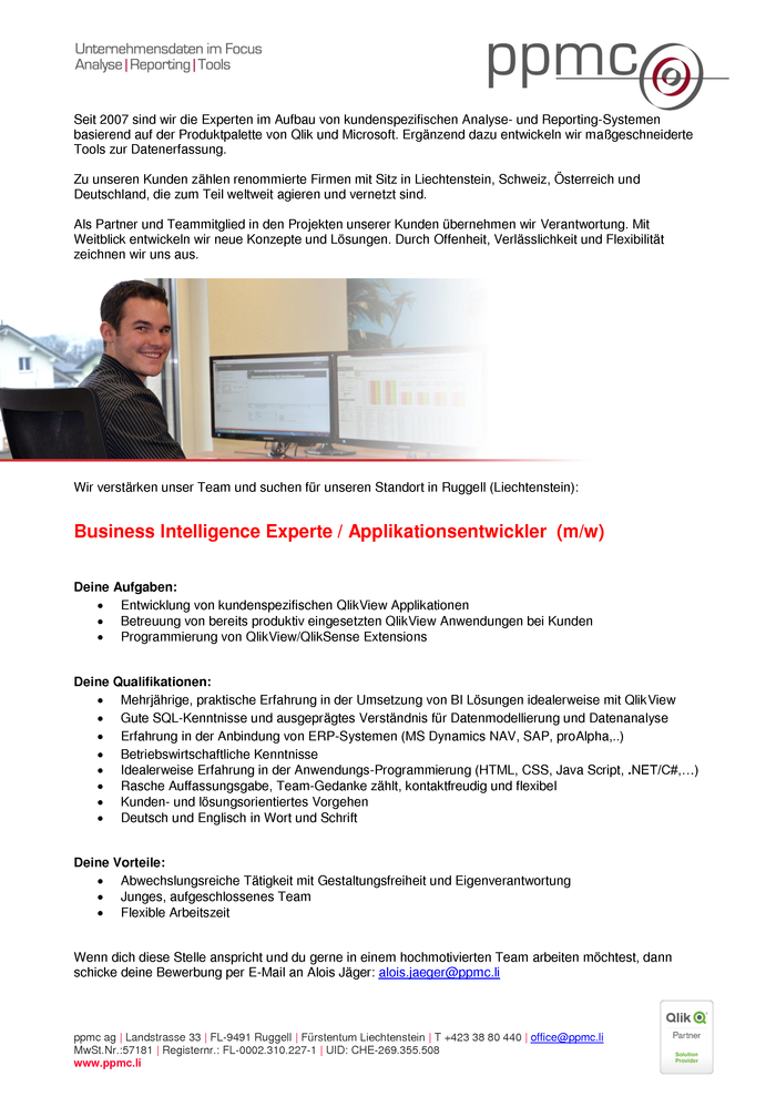 Business Intelligence Experte / Applikationsentwickler (m/w)