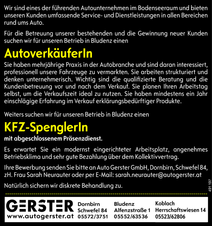 Autoverkäufer/in, KFZ-Spengler/in