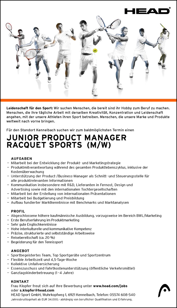 Junior Product Manager Racquet Sports (m/w)