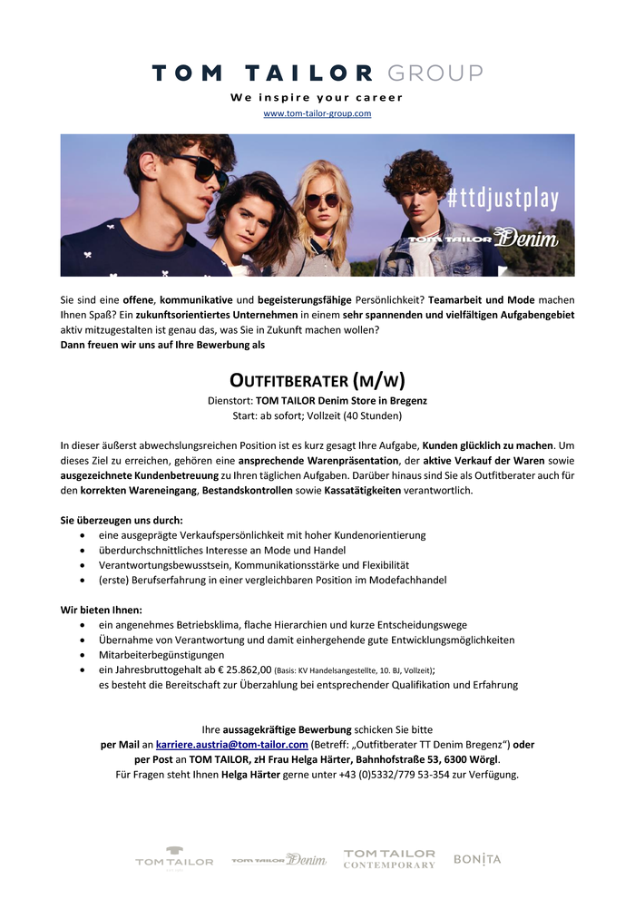Outfitberater (m/w) in Vollzeit (40 Std.) in Bregenz