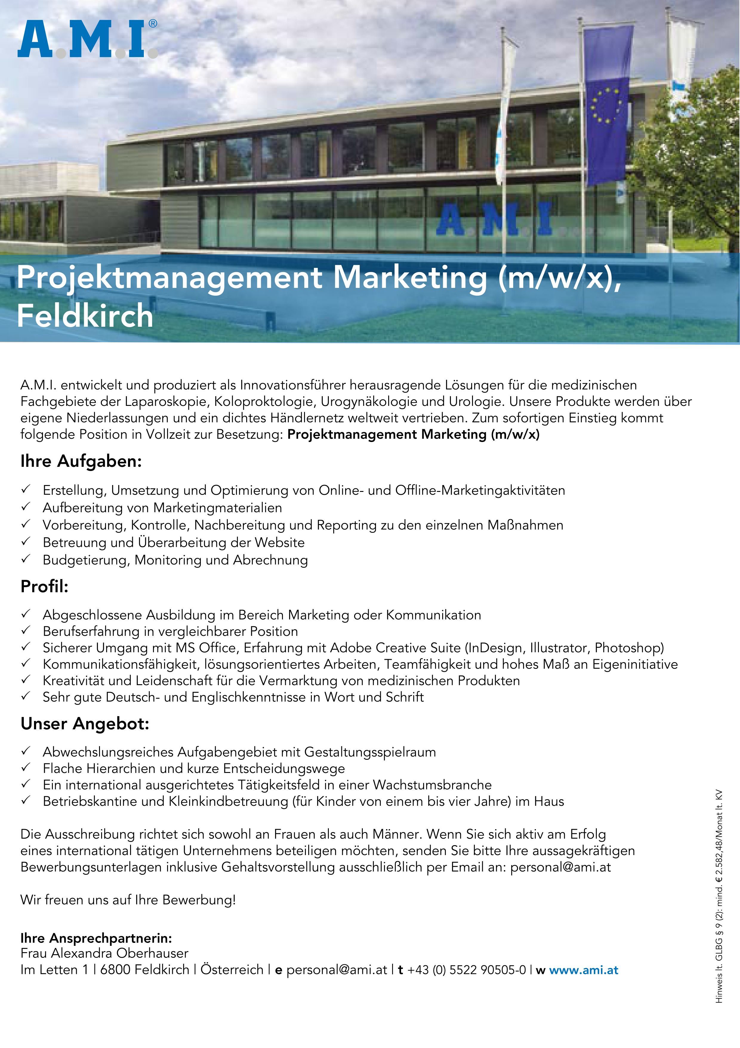 Projektmanagement Marketing (m/w/x), Feldkirch
