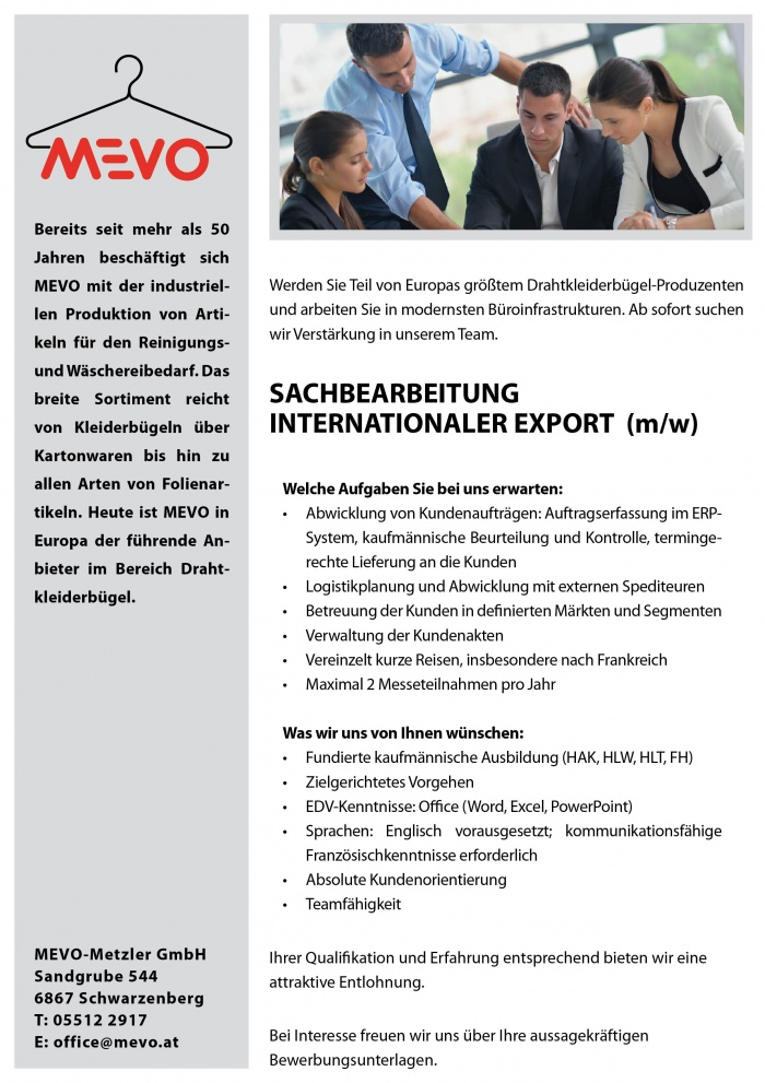 Sachbearbeitung Internationaler Export (m/w)