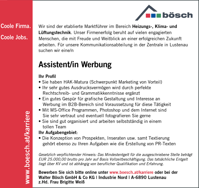 Assistent/in Werbung