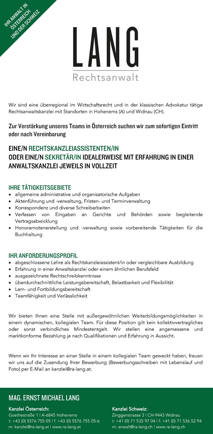Sekretär/in Anwaltskanzlei Rechtskanzleiassistent/in - Vorarlberg ...
