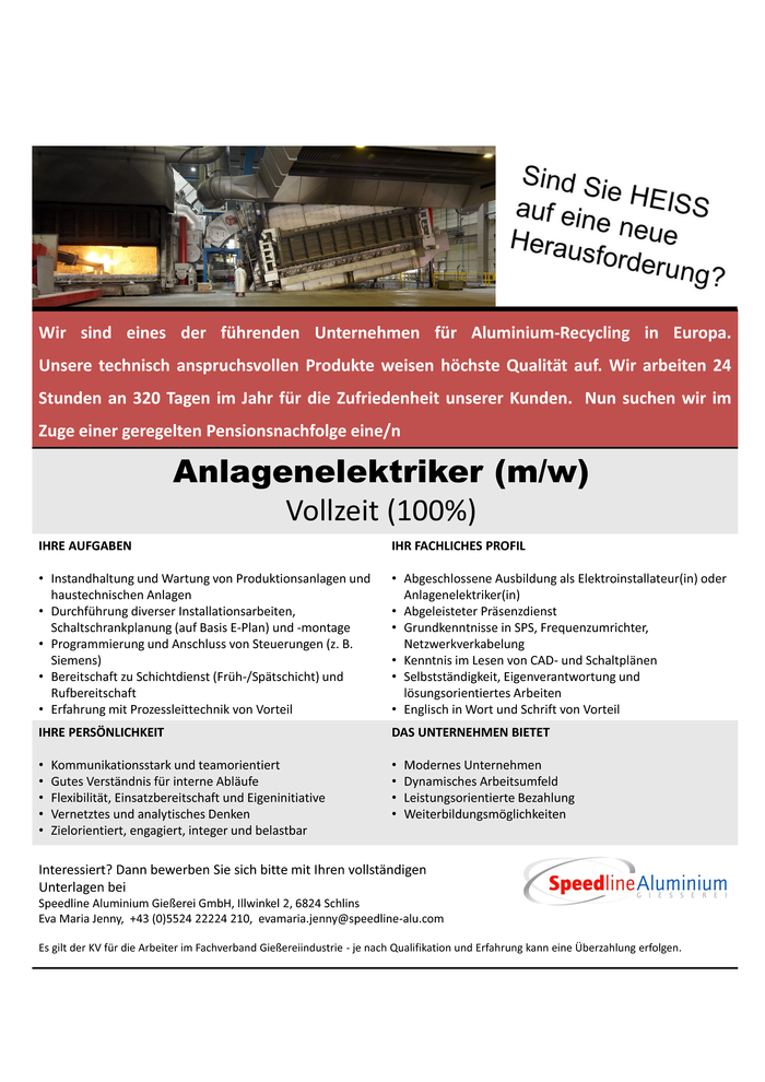 Anlagenelektriker(in) 100%