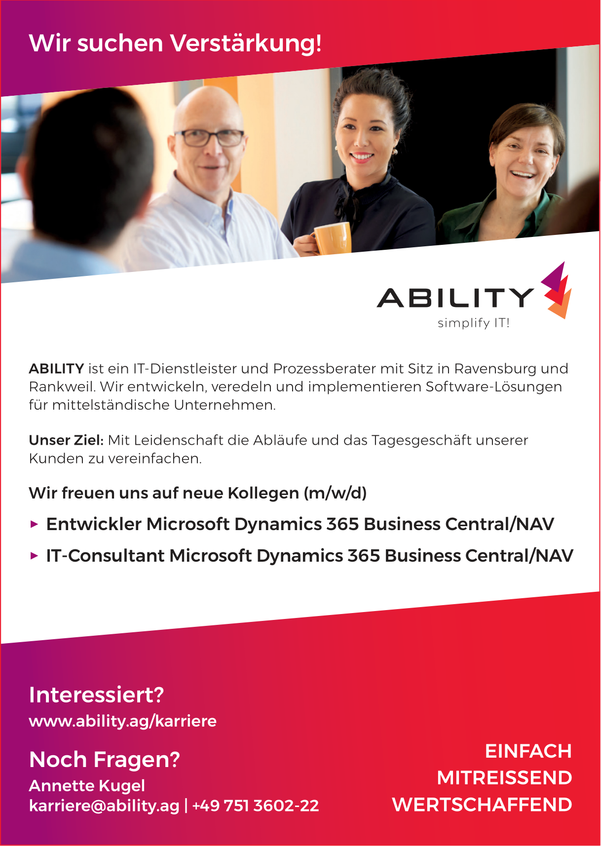 Entwickler und IT-Consultant Microsoft Dynamics 365 Business Central/NAV bei Ability