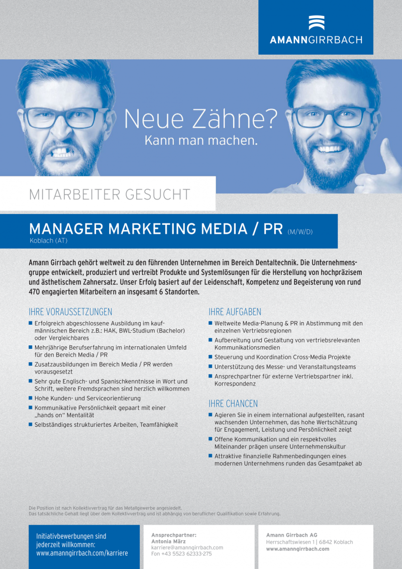 MANAGER MARKETING MEDIA / PR (m/w/d)