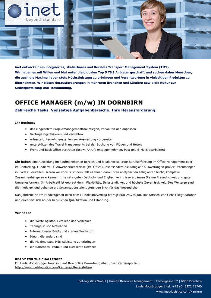OFFICE MANAGER (m/w) IN DORNBIRN