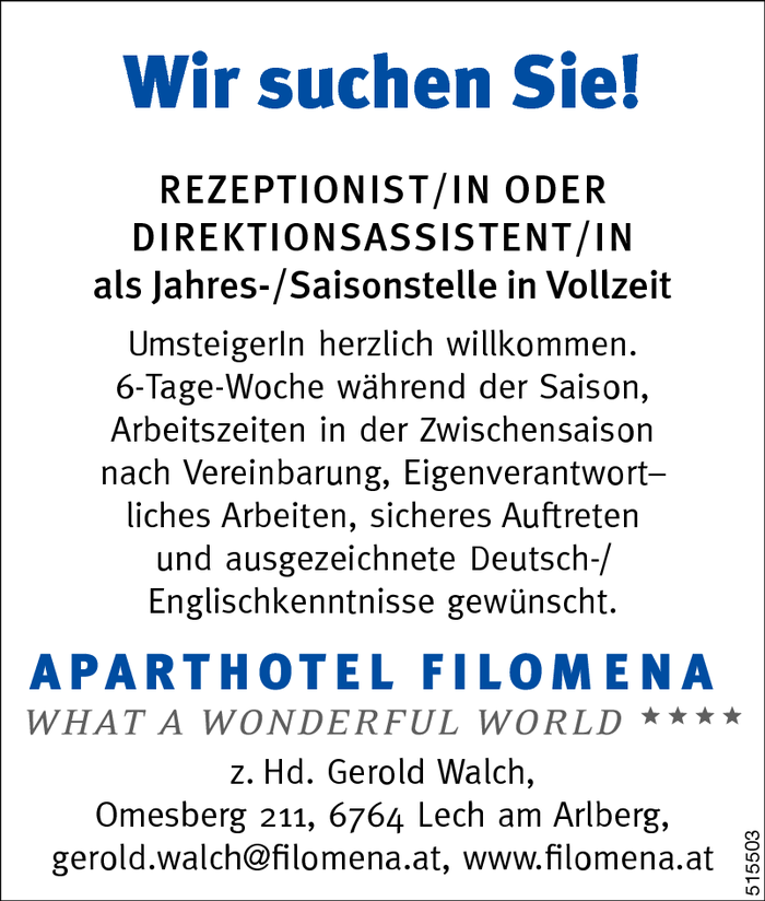 Rezeptionist/in oder Direktionsassistent/in