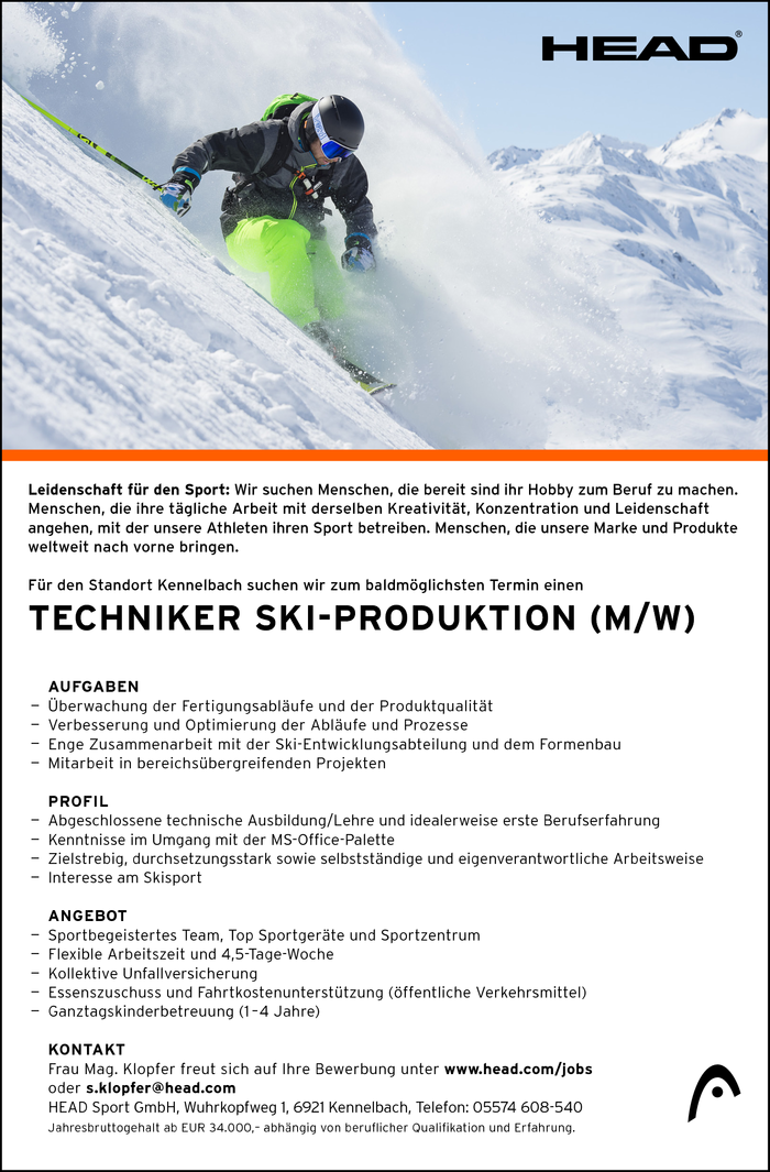 Techniker Ski-Produktion (m/w)