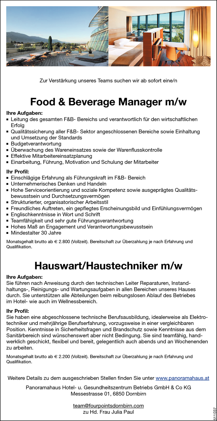 Food & Beverage Manager/in, Hauswart/in