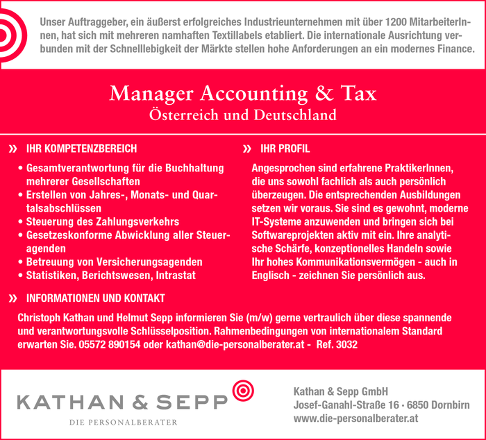 Manager Accounting & Tax