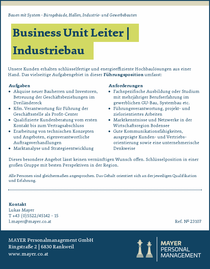 Business Unit Leiter | Industriebau