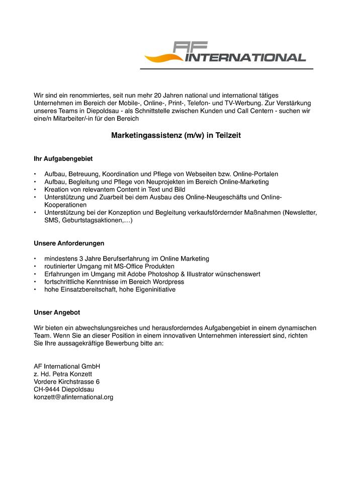 Marketingassistenz (M/W) In Teilzeit - Schweiz (Grenznah) - Jobs