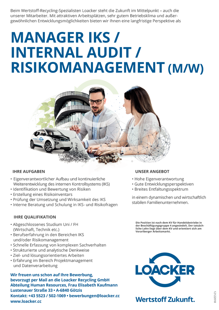 MANAGER IKS / INTERNAL AUDIT / RISIKOMANAGEMENT (M/W)