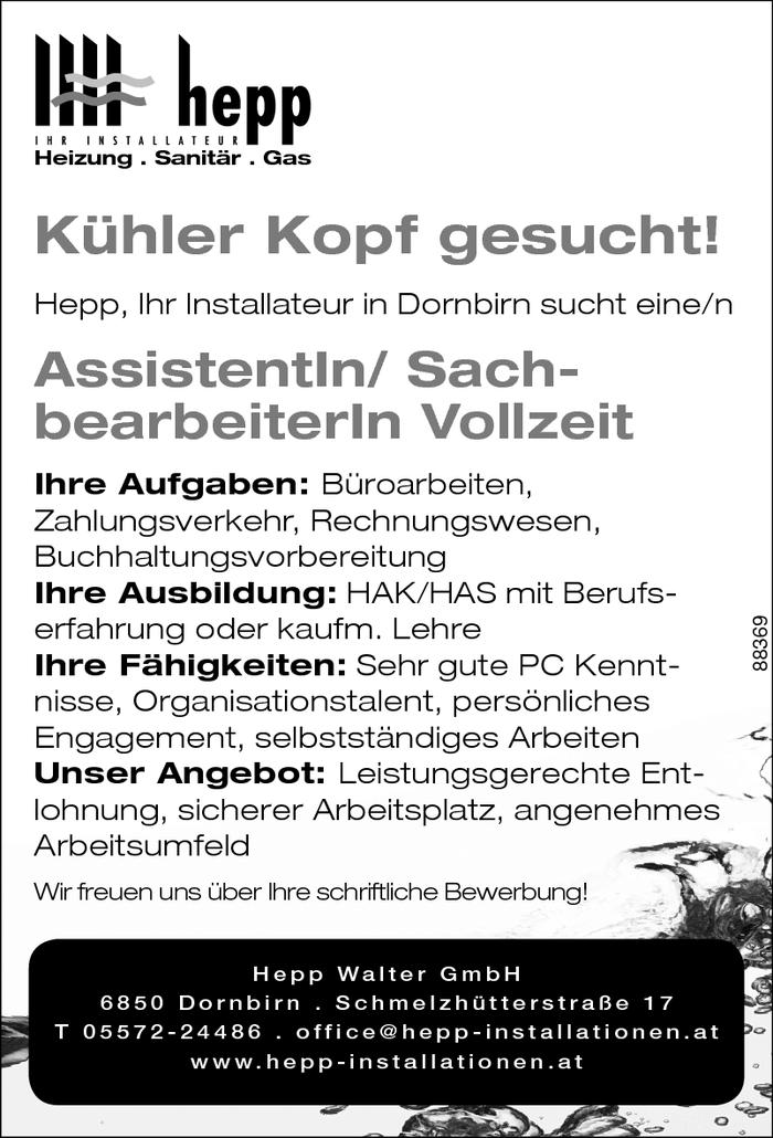 Assistentin Sachbearbeiterin Vollzeit Vorarlberg Jobs In