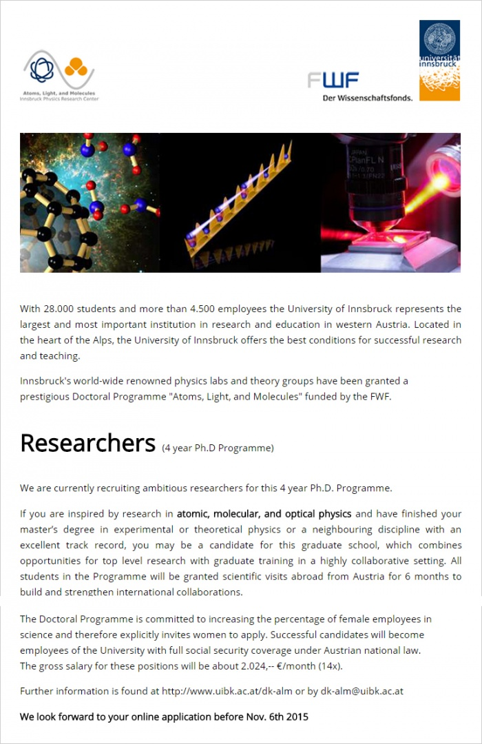 Researchers (4 year Ph.D Programme)
