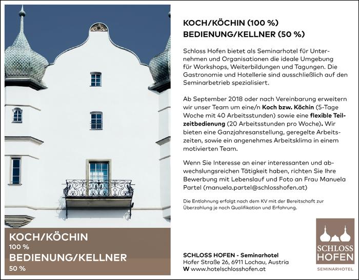 KOCH/KÖCHIN (100%) | BEDIENUNG/KELLNER (50%) - Vorarlberg - Jobs in ...
