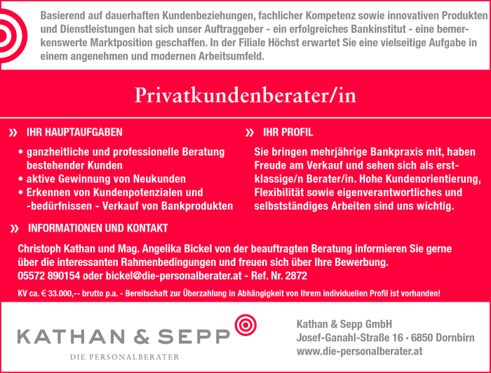 Privatkundenberater/in