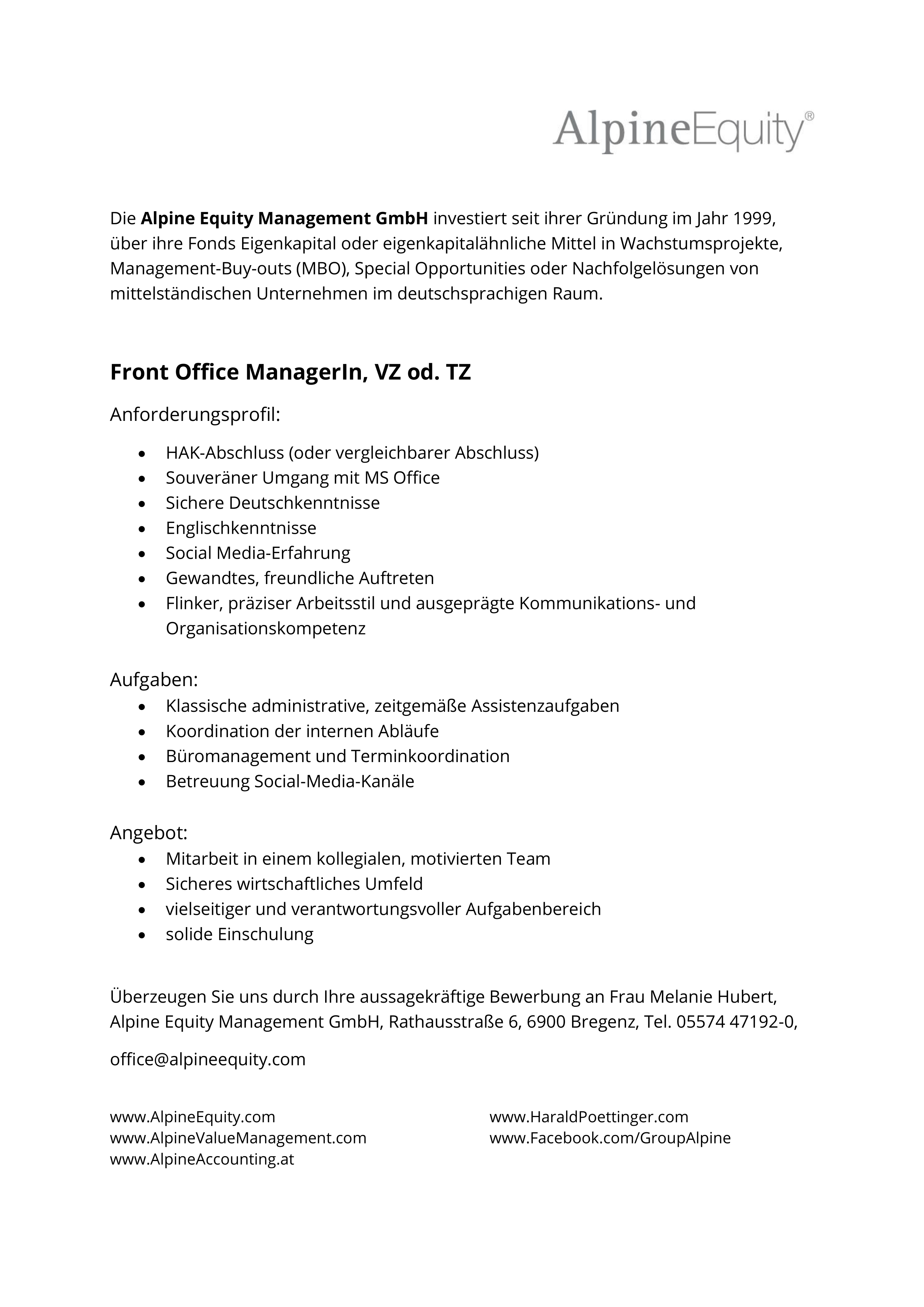 Front Office ManagerIn, VZ od. TZ
