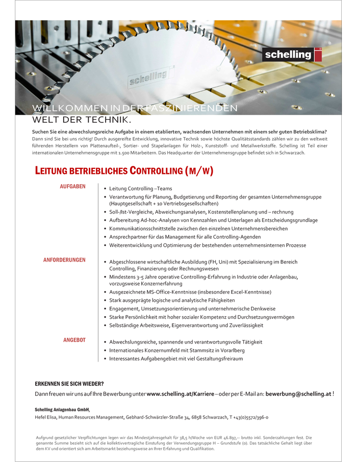Leitung betriebliches Controlling (m/w)