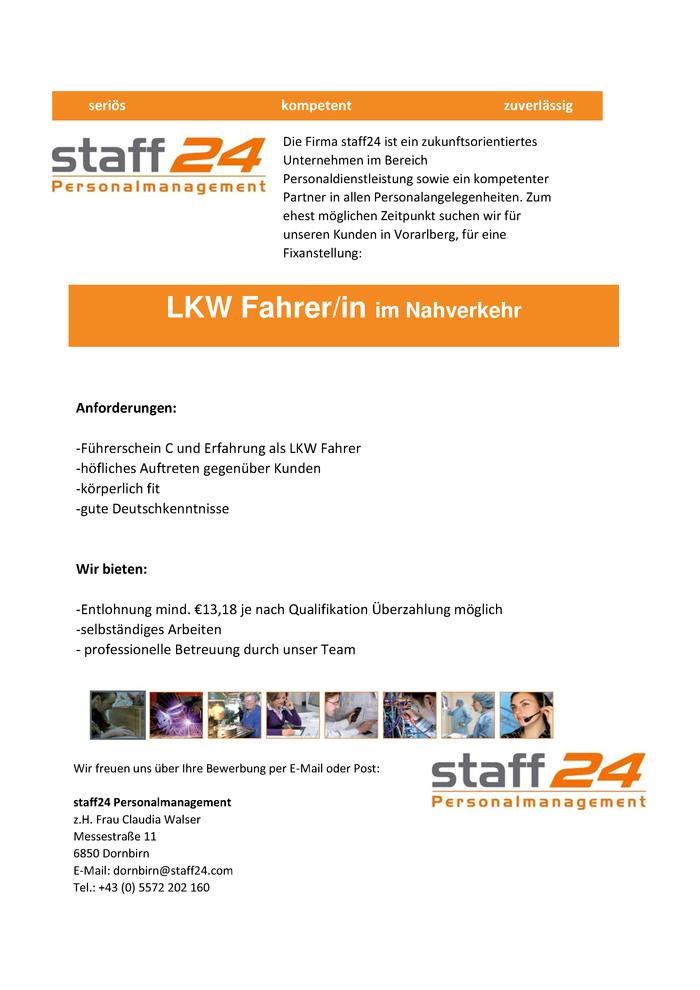 Lkw Fahrer/In - Bezirk Bregenz - Jobs In Vorarlberg