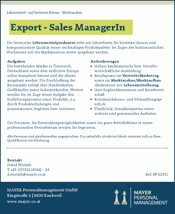Export - Sales ManagerIn