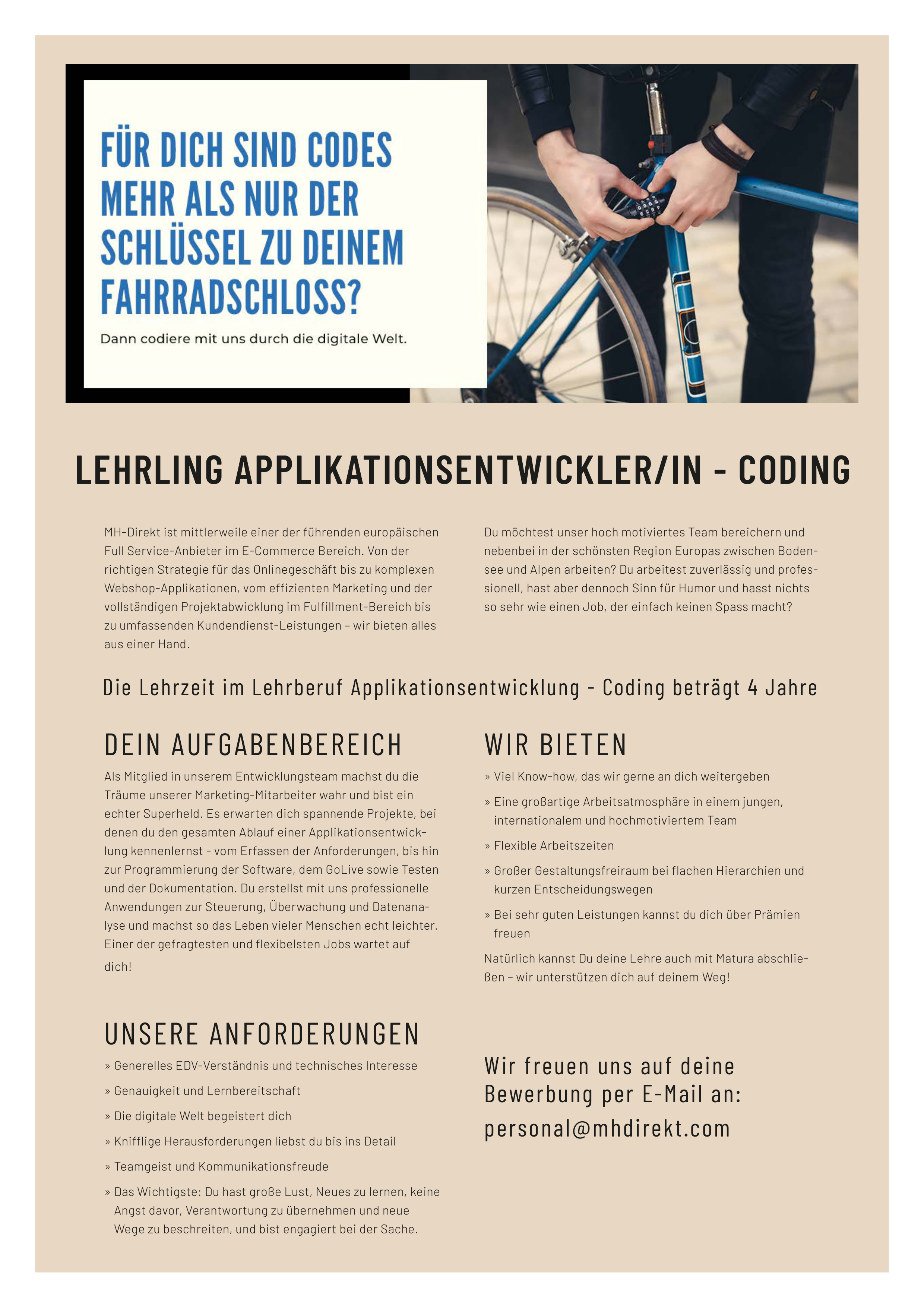 Lehrling Applikationsentwickler/in - Coding