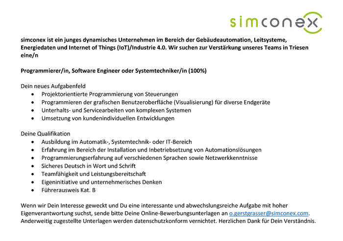 Programmierer/in, Software Engineer oder Systemtechniker/in (100%)