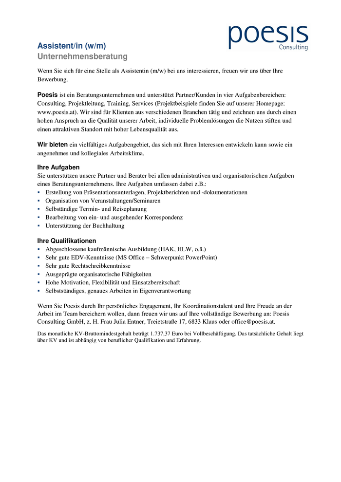 Assistent/in (w/m)