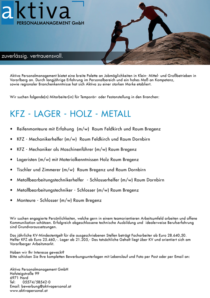 Jobs im Bereich KFZ - LAGER - HOLZ - METALL