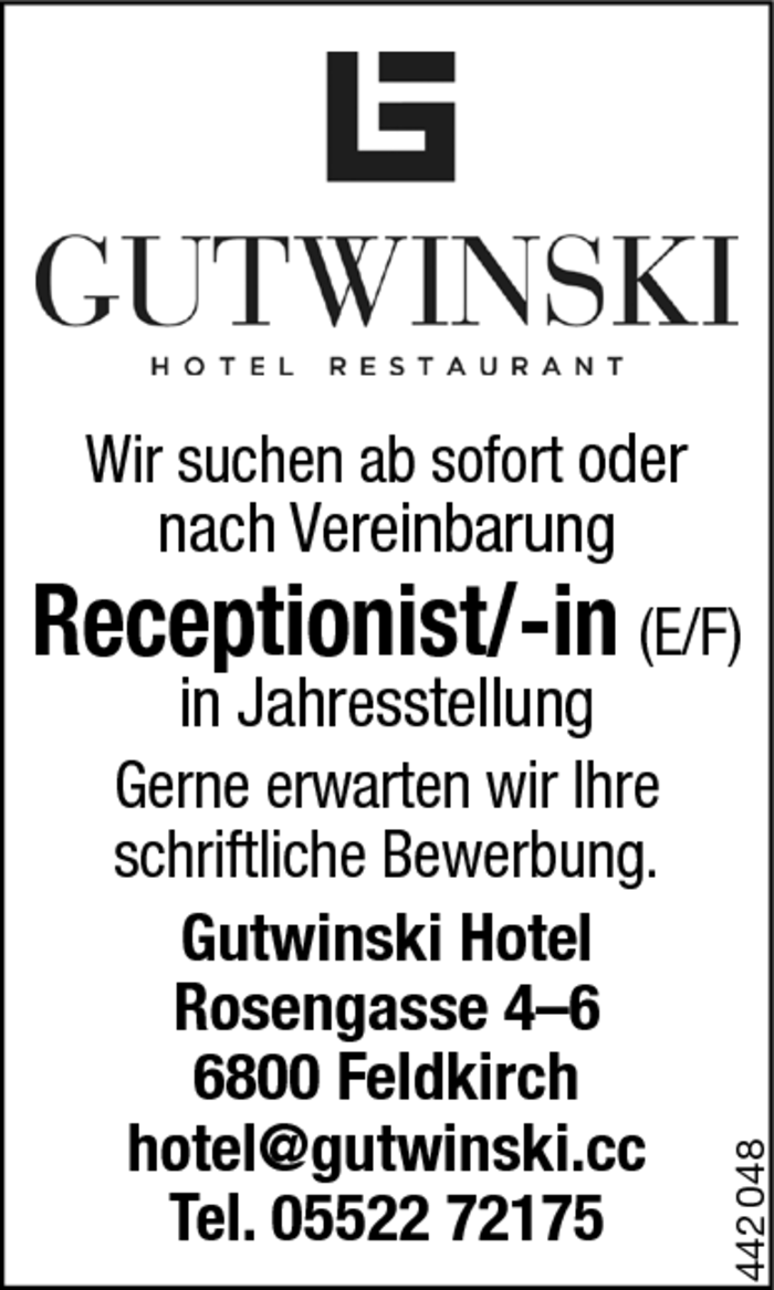Receptionist/in