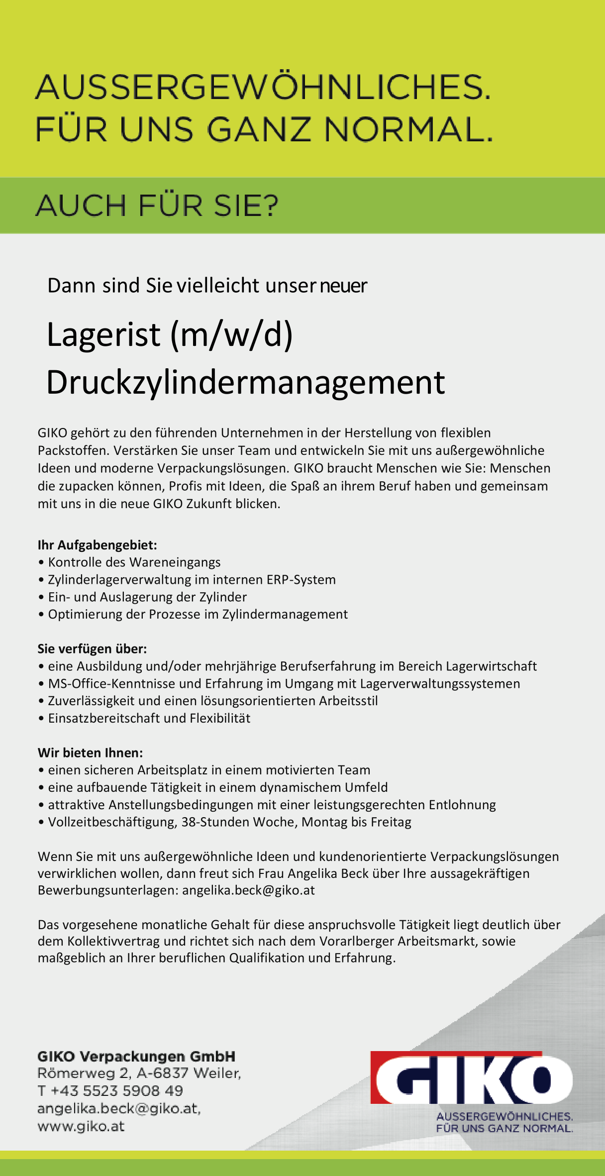 Lagerist (m/w/d)    Druckzylindermanagement