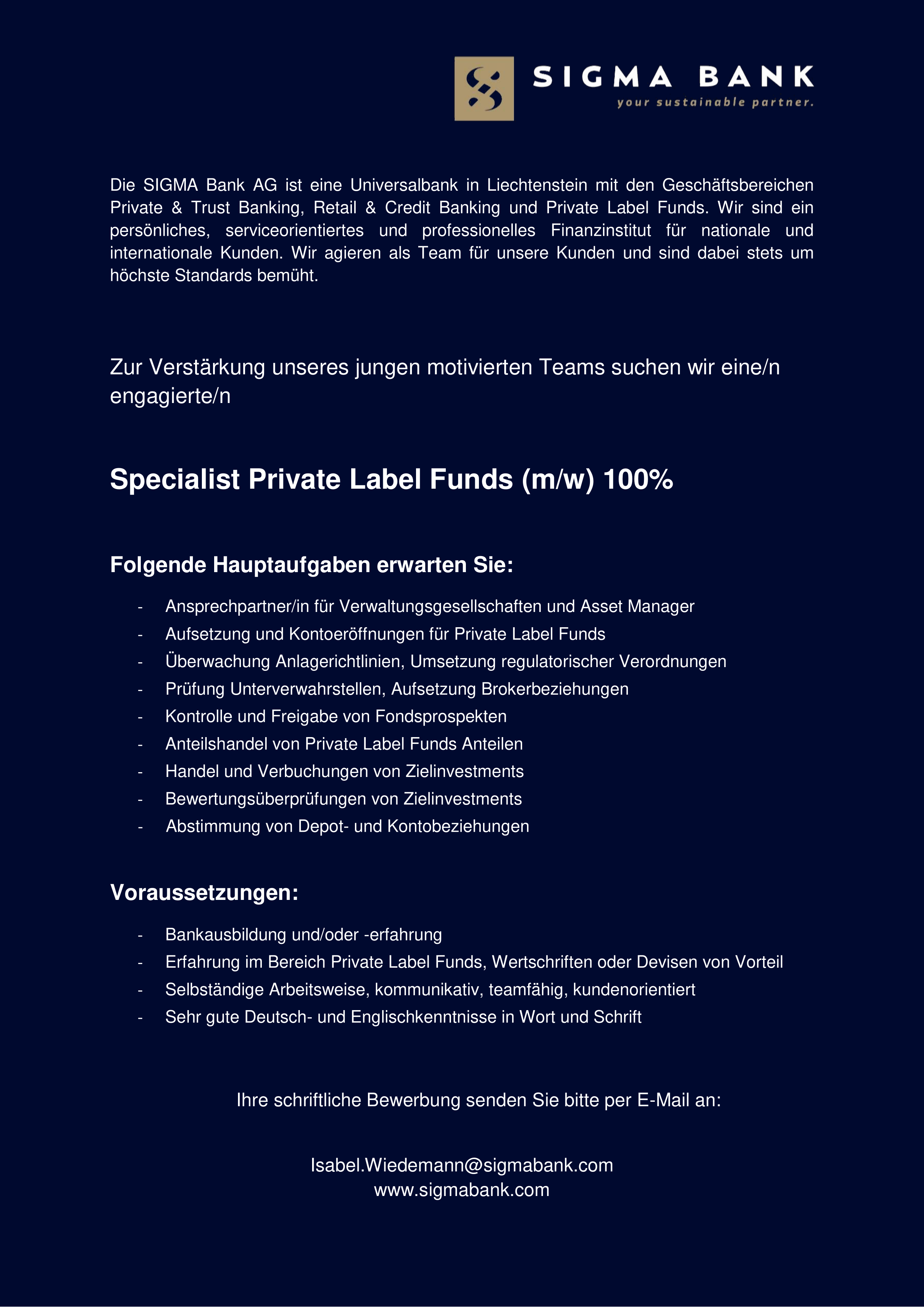 Specialist Private Label Funds (m/w) 100%
