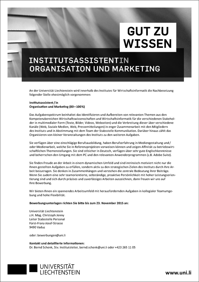 Institutsassistent/in Marketing und Organisation