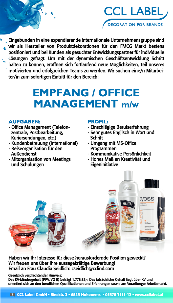 EMPFANG/OFFICE MANAGEMENT