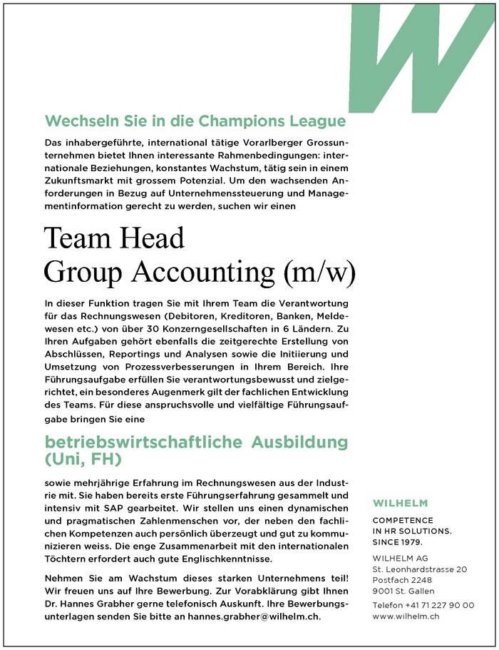 Team Head Group Accounting (m/w)