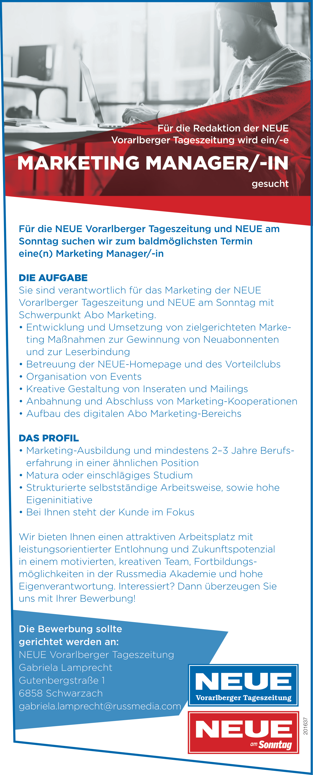 MARKETING MANAGER/-IN