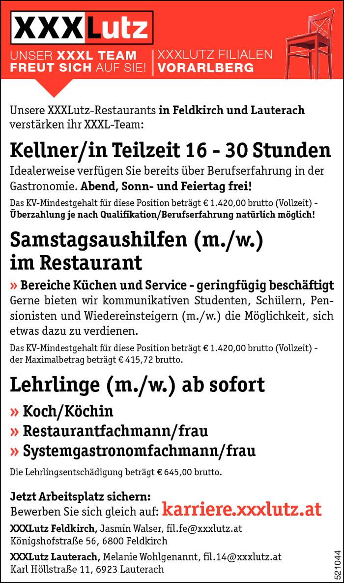 Kellner in samstagsaushilfe lehrling feldkirch for Koch gehalt netto